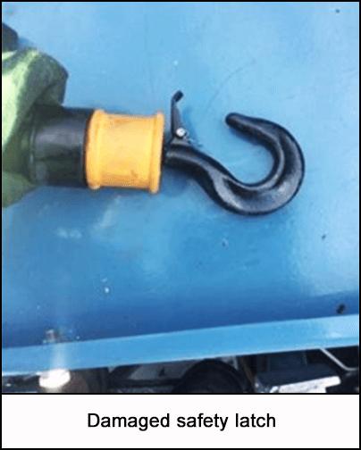 Damaged safety latch