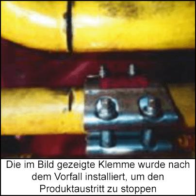 Foto des erfolgreichen Schnitts an der Stickstoffleitung und des versehentlichen Schnitts an der Dieselleitung