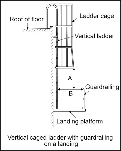Vertical caged ladder with guardrailing on a landing