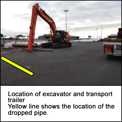 Location of excavator and transport trailer nearby the location of the dropped pipe