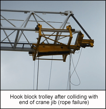 Hook block trolley after colliding with end of crane jib (rope failure)
