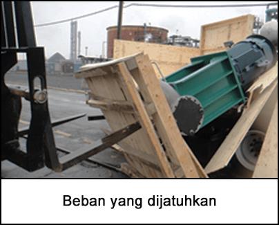 Trak forklift dan pam jatuh dibungkus dengan palet kayu yang pecah