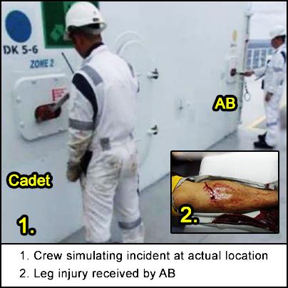 Crew simulating incident and injured leg